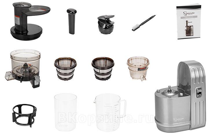 Комплектация соковыжималки Sana Juicer EUJ-828, серебристый