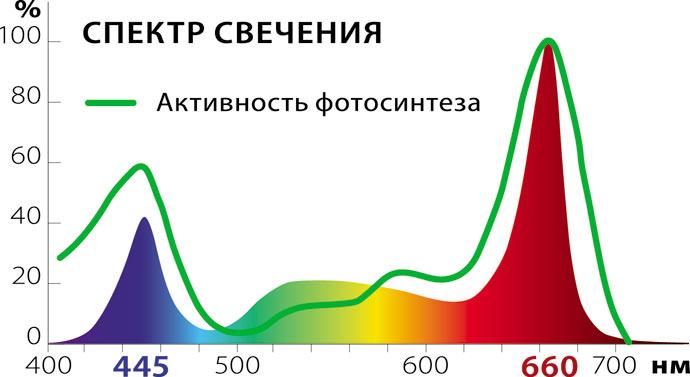 Спектр излучения света лампами для рассады