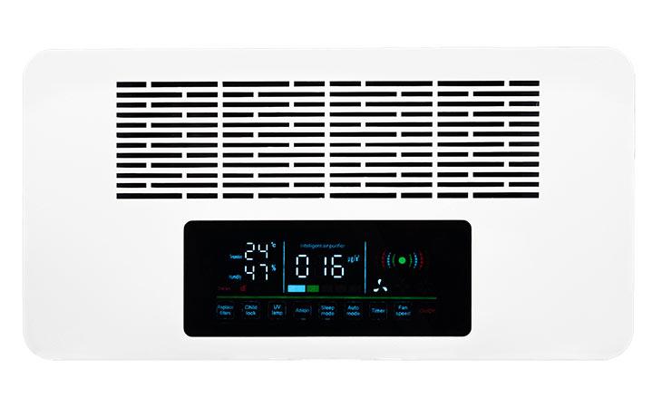 Панель управления и выходные каналы воздуха у Clever&Clean HEALTHAIR UV-07, ультрафиолетовый