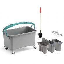 Ведро TTS для уборки туалета с 3-мя контейнерами, щеткой и решеткой