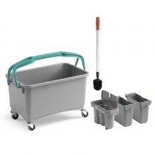 Ведро TTS для уборки туалета с 3-мя контейнерами и щеткой, 28 л, серое