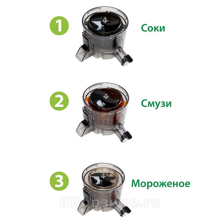 Виды сборки корзины для отжима у Hurom H-100-SBEA01, 4 поколение, платиновый (серебристый)